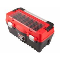 Szerszámosláda, műanyag 547×271×278mm, fémcsatos, tálcával, lakatolható, ALU nyél