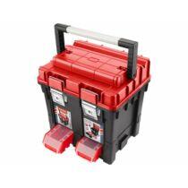 Szerszámosláda profi erős, műanyag 440×350×440mm, fémcsatos, tálcával, lakatolható, ALU nyél