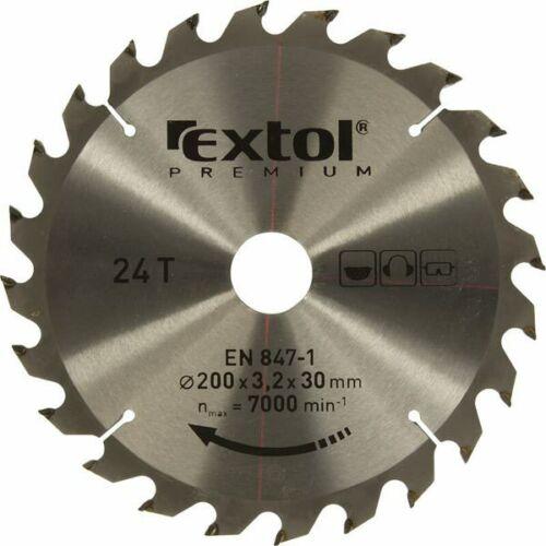 Extol Prémium körfűrészlap, keményfémlapkás, 200×30mm(lyuk átm), T24; 3,2mm lapkaszélesség, max. 7000 ford/perc