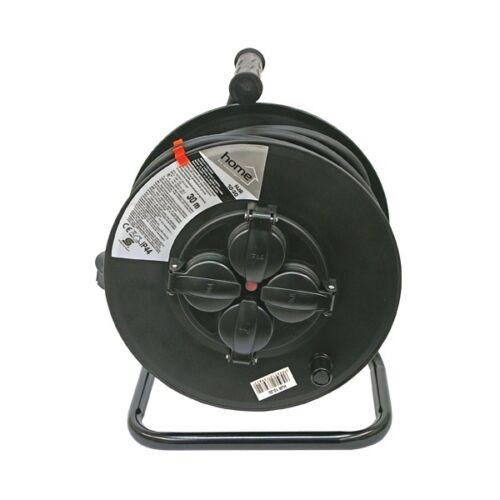 Villamos hosszabbító, dobra tekerve, 30m gumikábel, 4 db aljzat, IP44, 250V; max: 3000W/1000W, (1,5mm2)