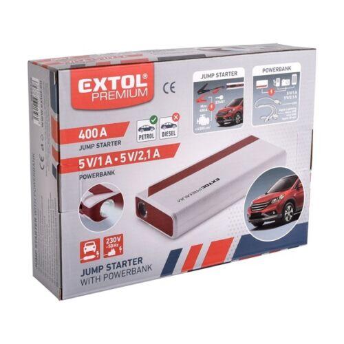 """Extol Prémium autós indító, benzinmotorokhoz, beépített 9000 mAh Li-polimer akkuval + power bank 5V, """"bikázó"""", 400A"""