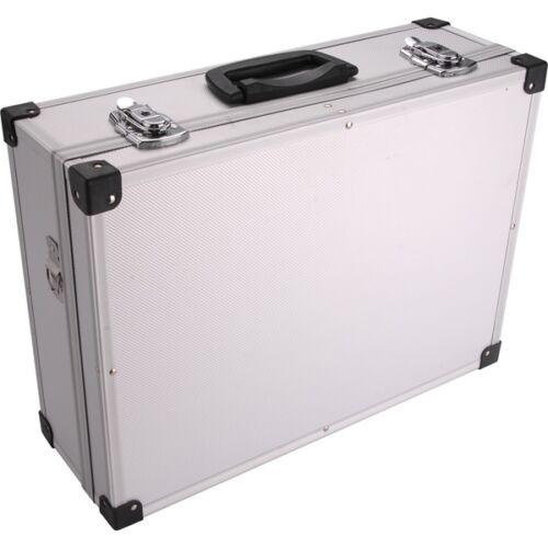 Szerszámostáska (koffer) alumínium 460×330×155 mm, ezüst színű, hordszíjjal