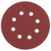 Tépőzáras csiszolókorong, vászon 8 lyukkal, 10 db, 125 mm, P80